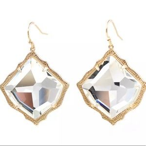 Mirrored Diamond Shaped Glass Earrings on Hooks